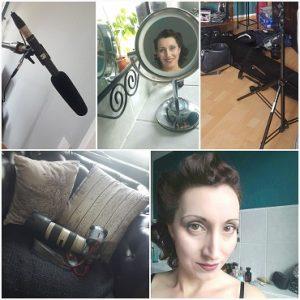 Collage mit Kamera, Mikro und Portraits von Lydia bei Aufnahmen für die BILD
