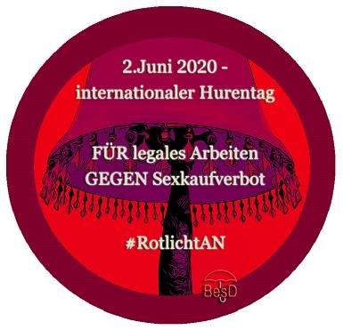 Logo Hashtag Rotlicht AN anlässlich des Welthurentages