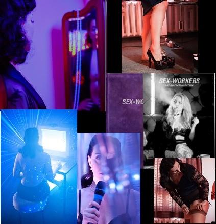 Eine Collage aus verschiedenen Portraits und Ausschnitten. Lydia sieht in einen Spiegel, sie blickt in die Kamera mit Mikro in der Hand, zieht Strümpfe an, man sieht ihre Beine und Lydia von hinten an einem Bildschirm sitzend.